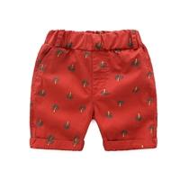กางเกงขาสั้นแฟชั่นหนูจิมมี่-ลายต้นมะพร้าว-สีแดง