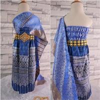 ชุดไทย-ผ้าถุงการะเกด-สไบผ้าไหมอินเดีย-สีฟ้าน้ำเงิน