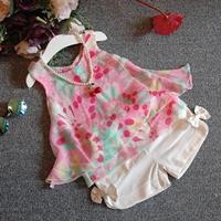 ชุดเสื้อกางเกงผ้าชีฟอง-ลายดอกไม้-สีชมพูขาว
