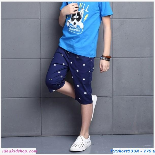 กางเกงขาสั้นลายกราฟฟิกธงชาติ สีกรม
