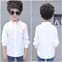 เสื้อเชิ้ตแขนยาวแต่งแถบแฟชั่น-สีขาว