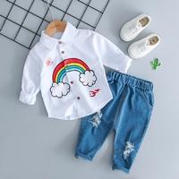 ชุดเสื้อเชิ้ตแขนยาวกางเกงยีนส์-สายรุ้งแฟชั่น-สีขาว