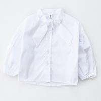 เสื้อเชิ้ตแขนยาวหนูน้อยออมมี่-แต่งโบว์-สีขาว