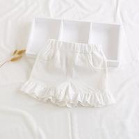 กางเกงขาสั้นแต่งระบาย-สาวน้อยบาร์บี้-สีขาว