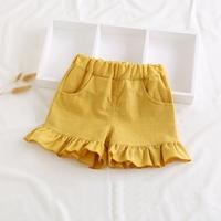 กางเกงขาสั้นแต่งระบาย-สาวน้อยบาร์บี้-สีเหลือง
