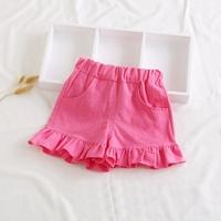 กางเกงขาสั้นแต่งระบาย-สาวน้อยบาร์บี้-สีชมพูเข้ม
