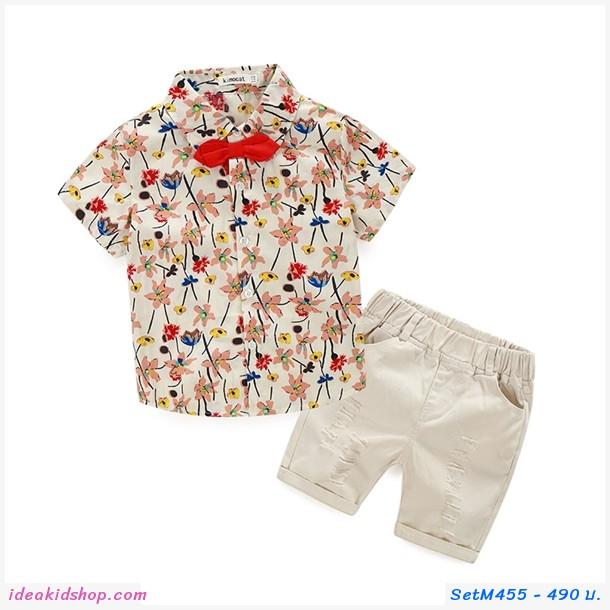 ชุดเสื้อ+กางเกง ลายดอก flower colorful