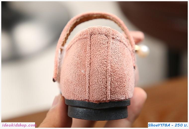รองเท้า ติดโบว์ สีชมพู