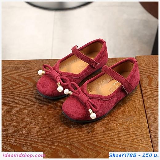 รองเท้า ติดโบว์ สีแดง