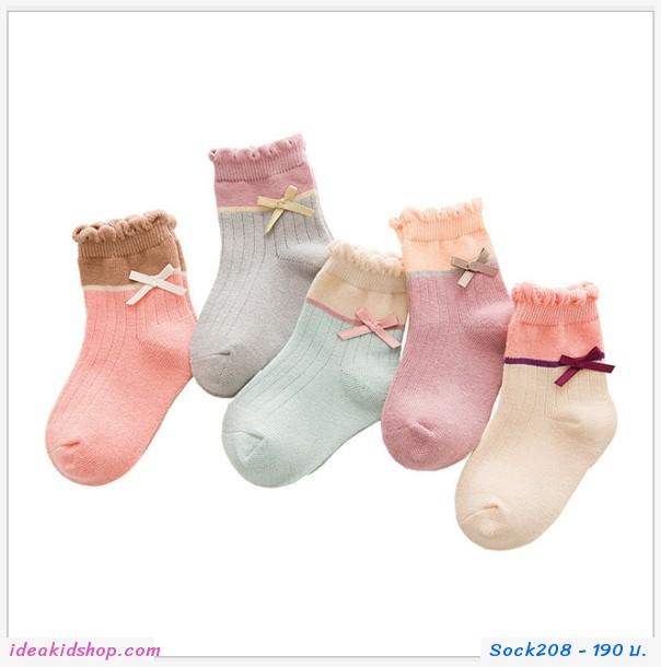 ถุงเท้าแฟชั่น หลายสี (แพค 5 คู่)