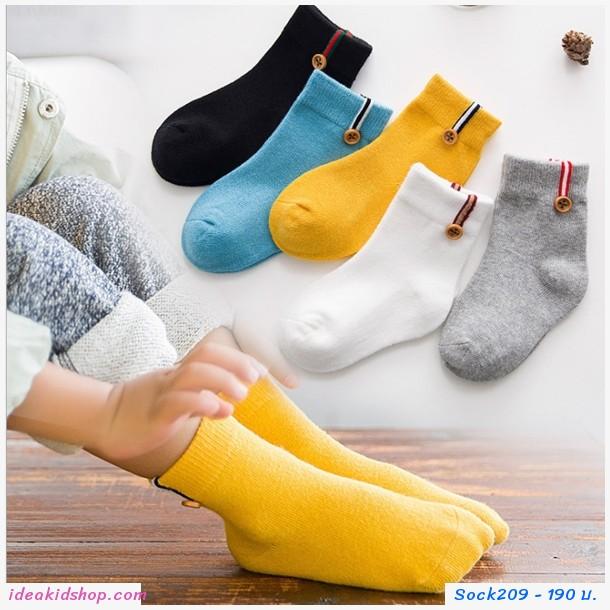 ถุงเท้าแฟชั่น แต่งแถบสีกระดุม(แพค 5 คู่)