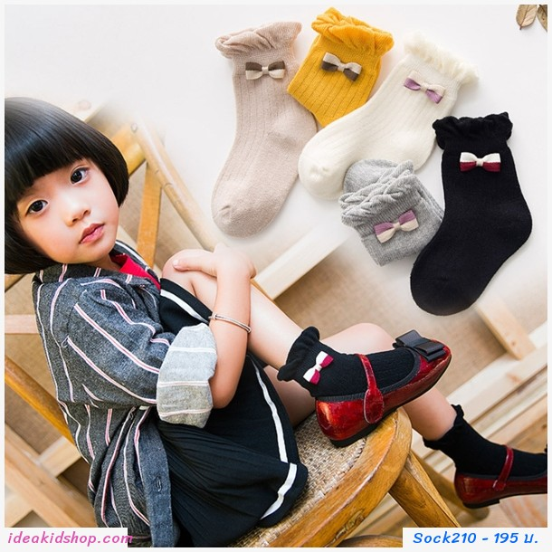 ถุงเท้าแฟชั่น แต่งโบว์(แพค 5 คู่)