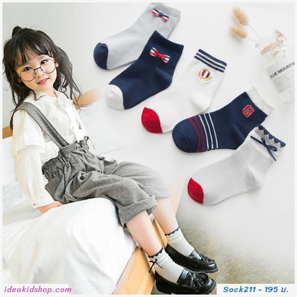 ถุงเท้าแฟชั่น แต่งโบว์ v2(แพค 5 คู่)