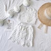 ชุดเสื้อกระโปรงผ้าลูกไม้แฟชั่นสุดหรู-สีขาว