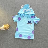 เสื้อยืด-มีฮูด-Monster-สีฟ้า