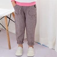 กางเกงแฟชั่นลายชิโนริ-แต่งระบาย-สีน้ำตาล