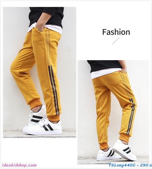 กางเกงวอร์มขายาวหนูน้อยโชน แต่งแถบเล็ก สีเหลือง