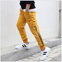 กางเกงวอร์มขายาวหนูน้อยโชน-แต่งแถบเล็ก-สีเหลือง