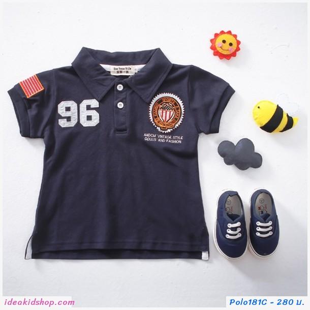 เสื้อโปโล คอปกแขนสั้น Sports No 96 สีกรมดำ