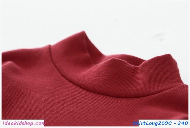 เสื้อแขนยาวคอเต่า สีแดง