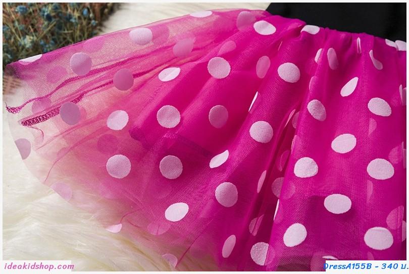เดรสลายจุด Minnie ตัวจิ๋ว+ที่คาดผม สีชมพู