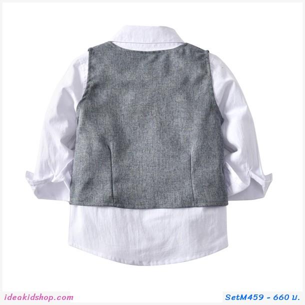 ชุดเสื้อกางเกง+เสื้อกั๊กออกงาน (เซต 3 ชิ้น)