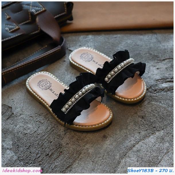 รองเท้าแตะมุกสาวแฟชั่น สีดำ