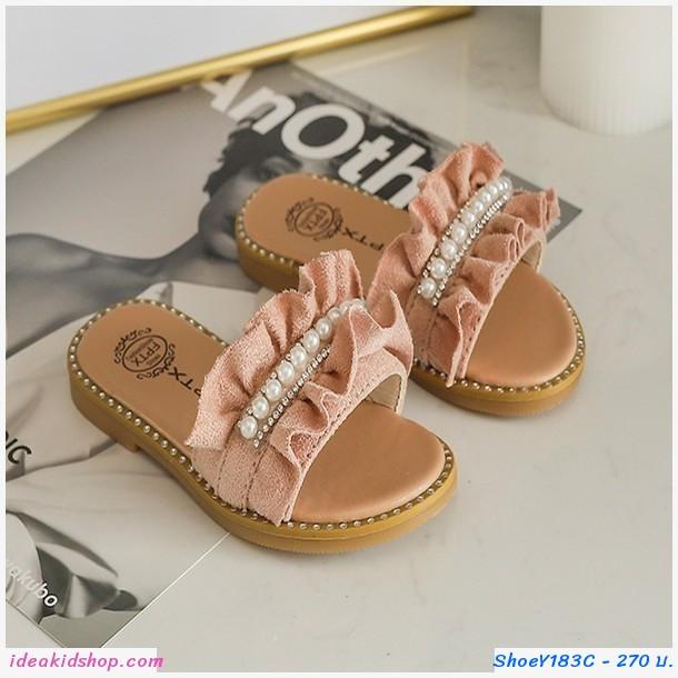 รองเท้าแตะมุกสาวแฟชั่น สีชมพู