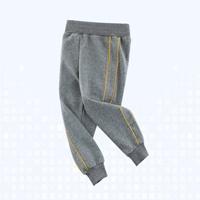 กางเกงวอร์มขาจั๊ม-แถบเหลือง-สีเทา