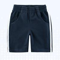 กางเกงขาสั้น-แต่งแถบขาว-สีกรม