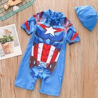 ชุดว่ายน้ำ_หมวกว่ายน้ำ-ลายกัปตันอเมริกา-สีน้ำเงิน