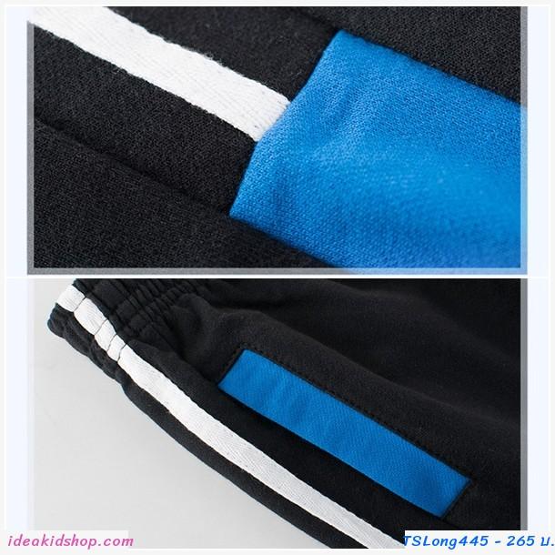 กางเกงวอร์มขายาว แต่งแถบ Two tone สีดำ