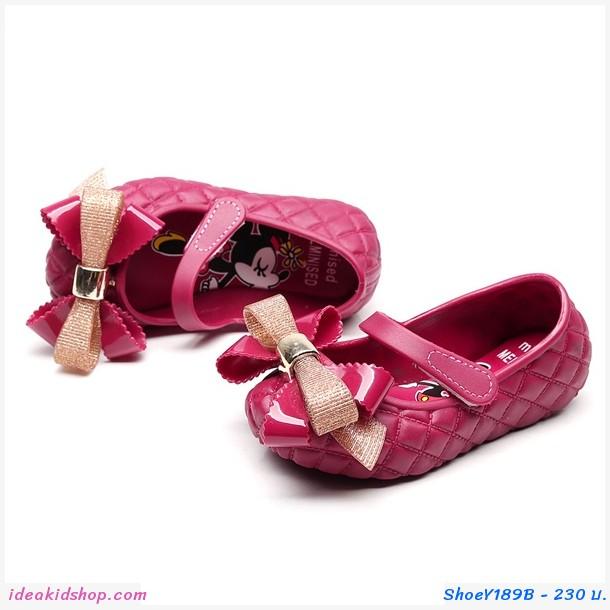 รองเท้าติดโบว์ Minnie Mickey สีแดงเลือดหมู