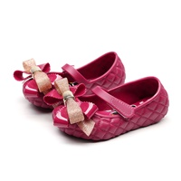 รองเท้าติดโบว์-Minnie-Mickey-สีแดงเลือดหมู