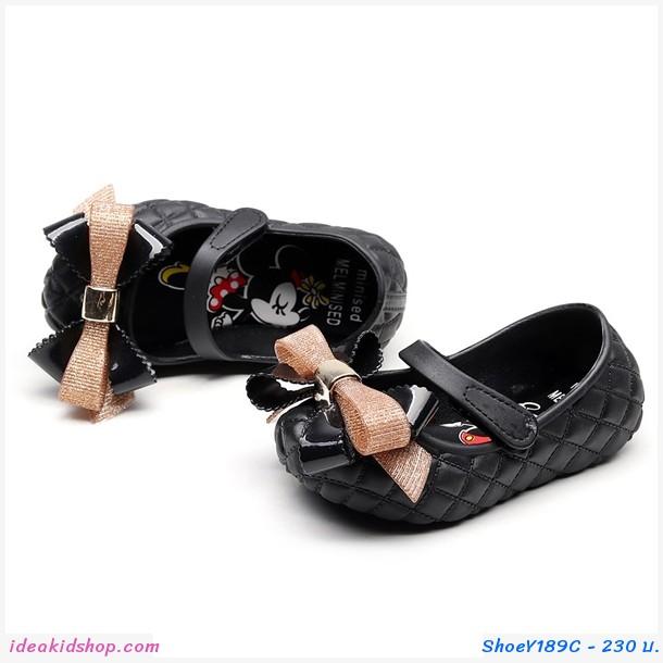 รองเท้าติดโบว์ Minnie Mickey สีดำ