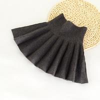 กระโปรงเอวสูง-pleated-skirt-สีเทา