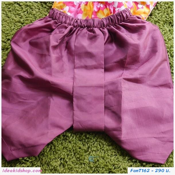 ชุดไทยเด็กหญิง ลายดอกไม้ สีชมพู