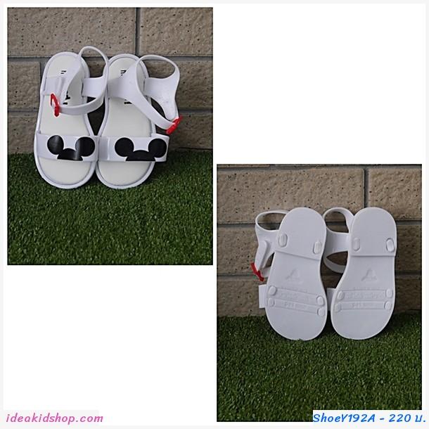 รองเท้ารัดส้นแฟชั่น Mickey สีขาว