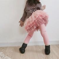 กระโปรงกางเกงปลายระบาย-ฟูฟู-สีชมพู