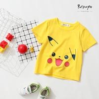 เสื้อยืดเด็กคอกลม-Pikachu-สีเหลือง-