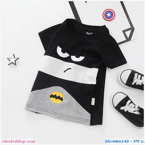 เสื้อยืดแฟชั่น ลายหน้า Batman สีดำ