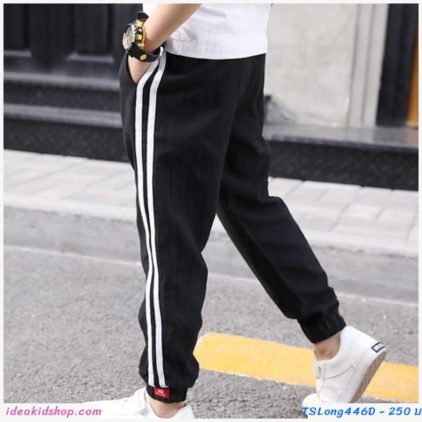 กางเกงขายาว สไตล์สปอร์ต สีดำ
