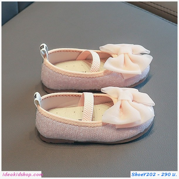 รองเท้าคัทชู SULA BABY ติดโบว์สีชมพู