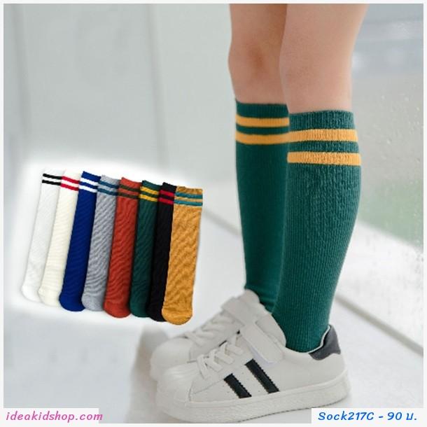 ถุงเท้ายาวแฟชั่นสปอร์ต โทนสีเขียว