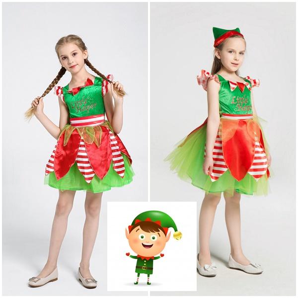 ชุดแฟนซีเอลฟ์ซานต้า-xmas_หมวก-สีเขียวแดง