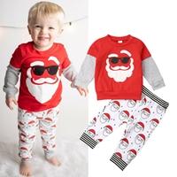 ชุดเสื้อกางเกง-Xmas--ซานต้าใส่แว่น-สีแดง-ขาว