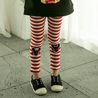 กางเกงเลกกิ้งลายทาง-Mickey-สีขาวแดง