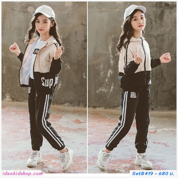 ชุดเสื้อ Jacket + กางเกง สไตล์ Sport โทนสีครีม-ดำ