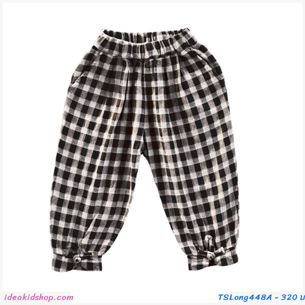 กางเกงขายาว ลายสก็อต สีดำ
