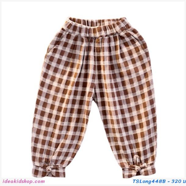 กางเกงขายาว ลายสก็อต สีน้ำตาล